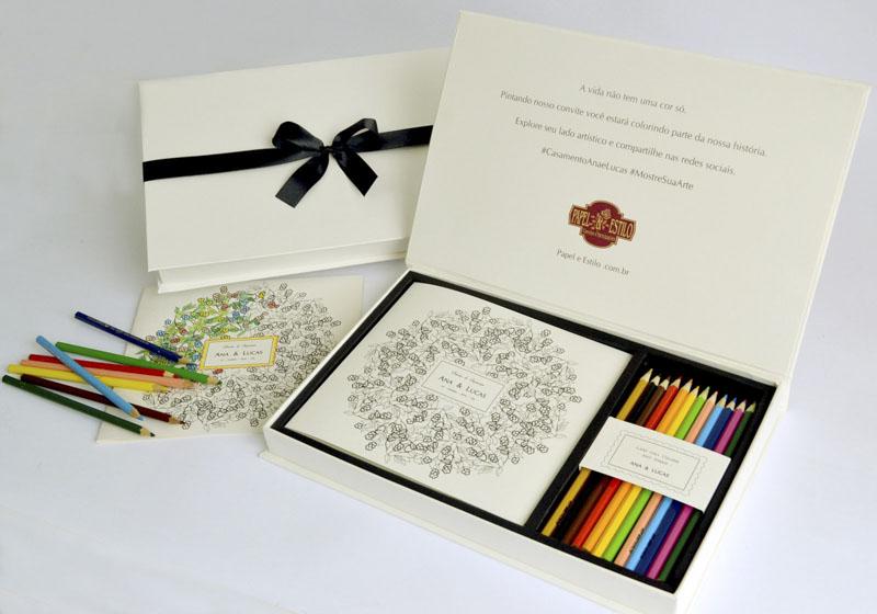Convite de casamento criativo - de colorir