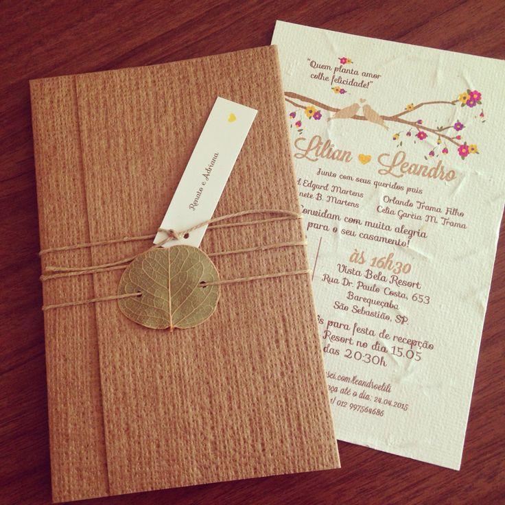 Convite casamento Papel semente